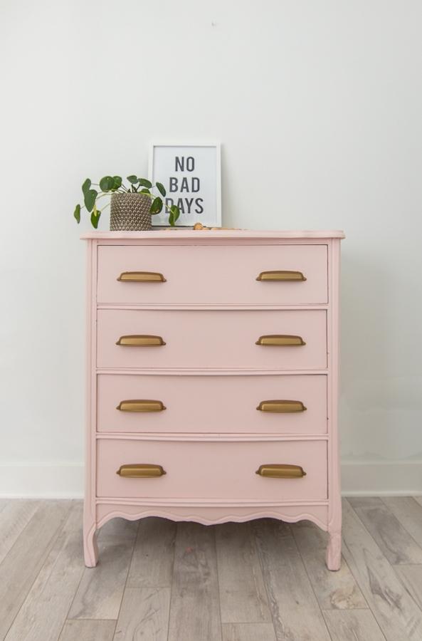 pink dresser with brass hardware teen girl bedroom
