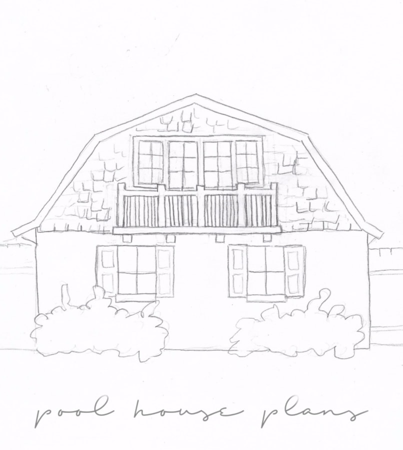 pool house plans sketch