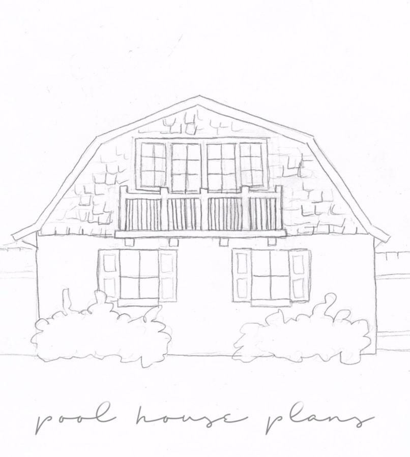 pool house plans sketch