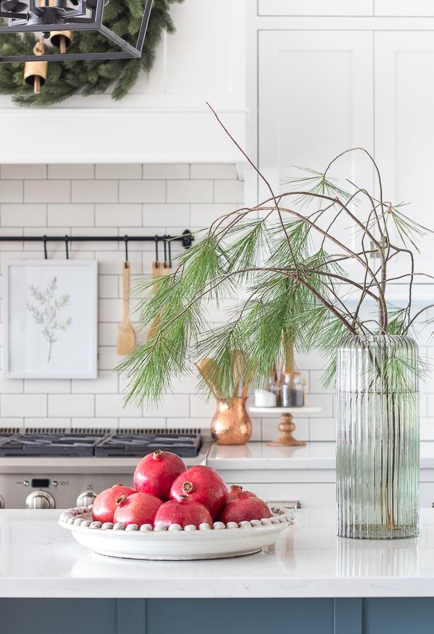 Christmas art. Evergreen branch. Kitchen Christmas decor