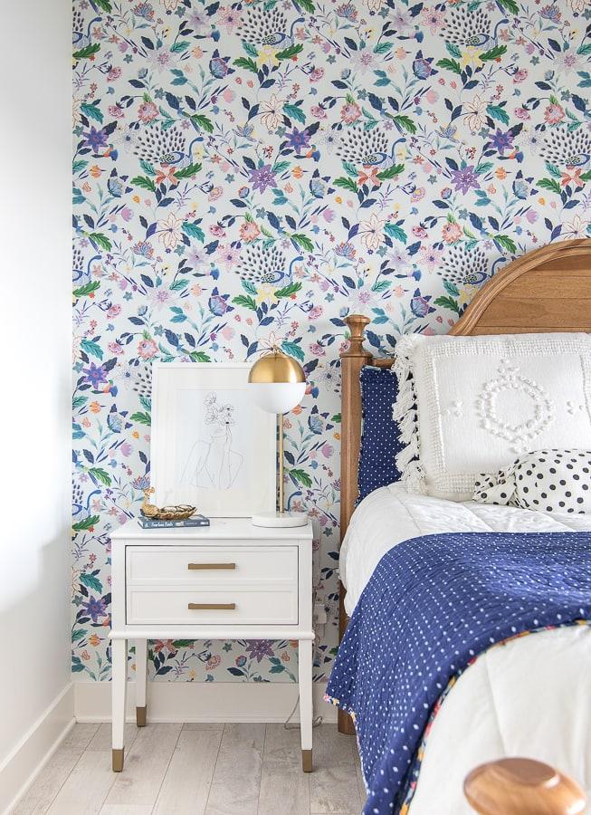 teen girl bedroom ideas floral wallpaper brass accents