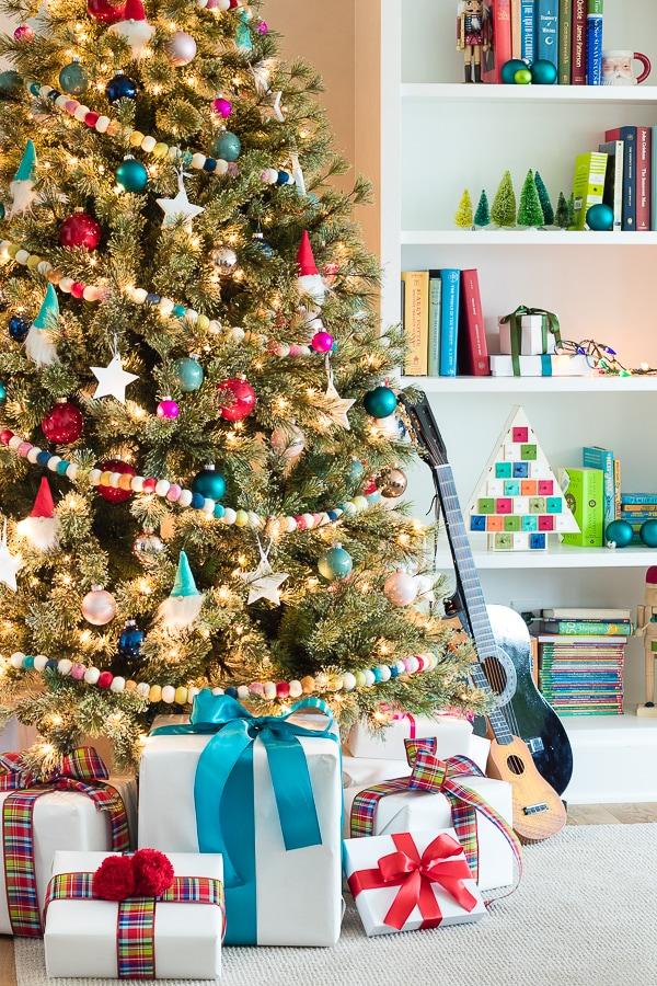 Colorful and Fun Kid's Christmas Tree rainbow felt garland