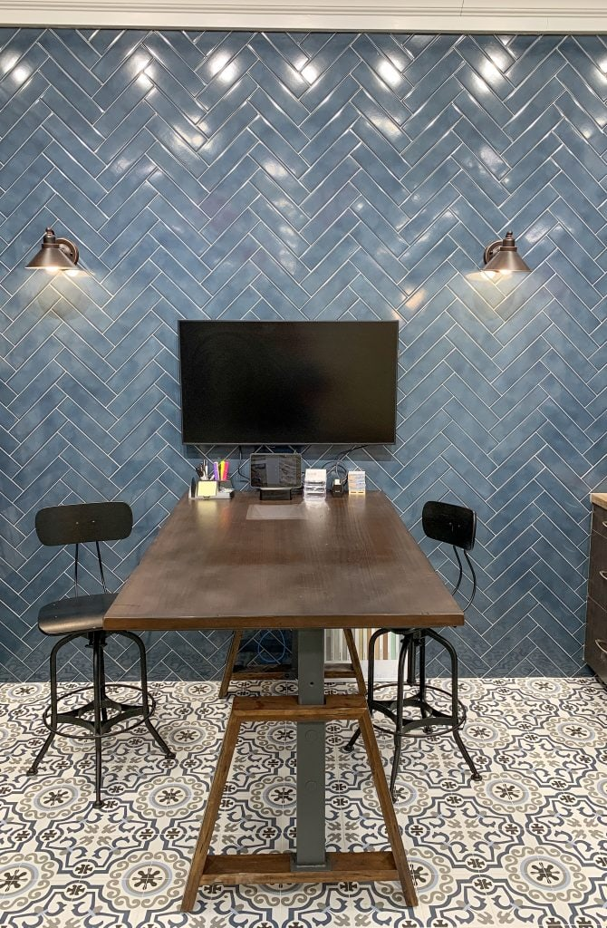 Blue herringbone subway tile