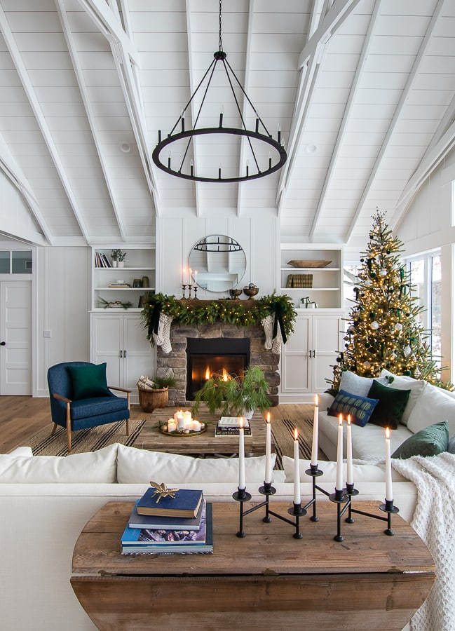 Simple green and brass Christmas living room decor.