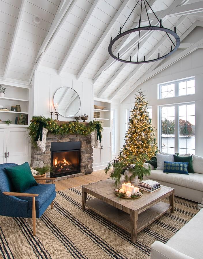 Green Christmas living room decor