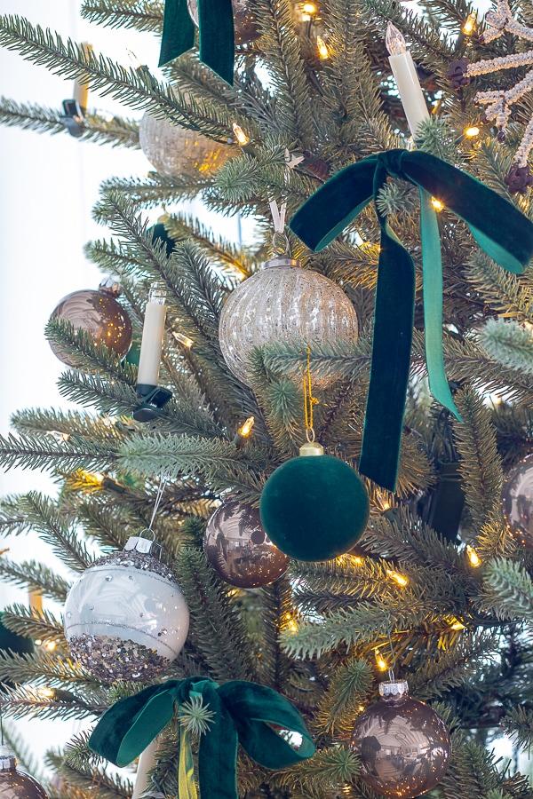 Green velvet Christmas tree ornaments and ribbon