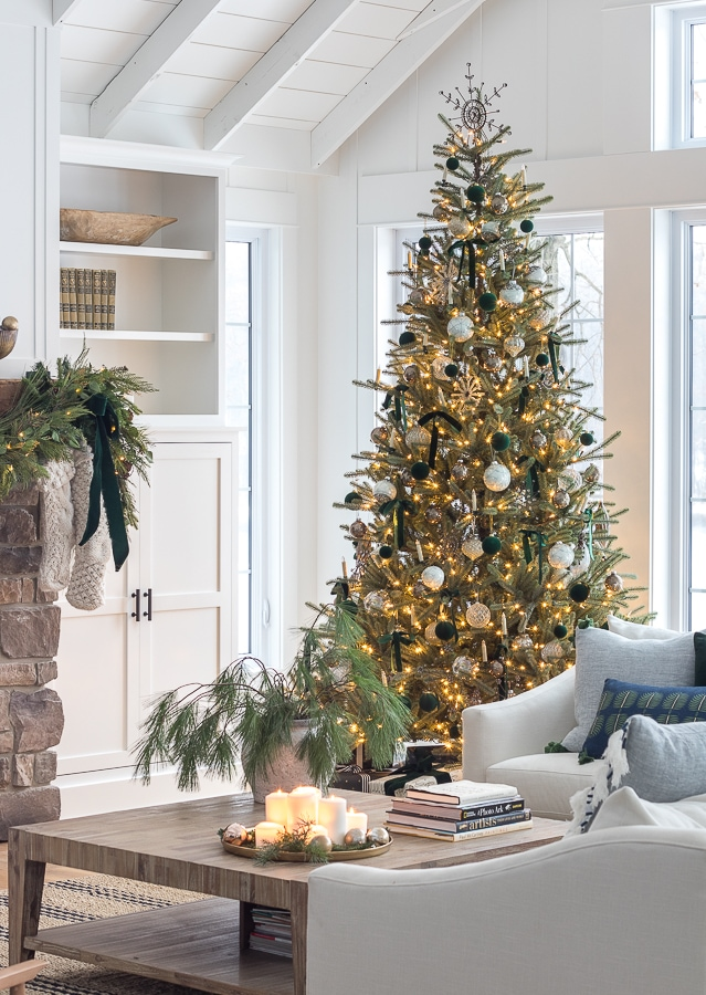 Green and blue Christmas living room decor lake house decorated for Christmas