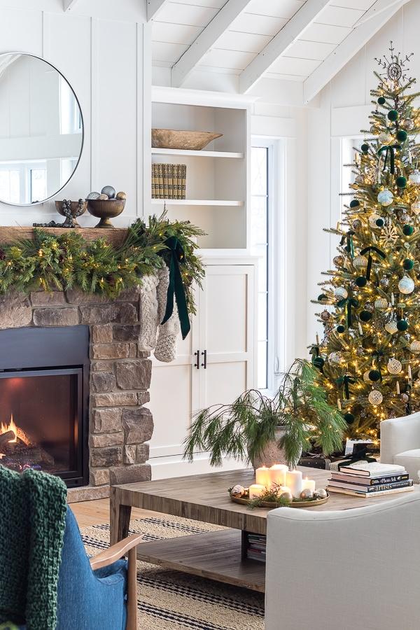 green and brass christmas living room