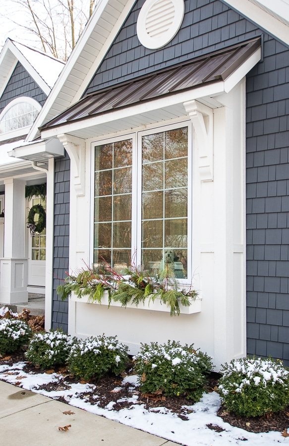 Gray and white Christmas front porch decor and winter window box ideas