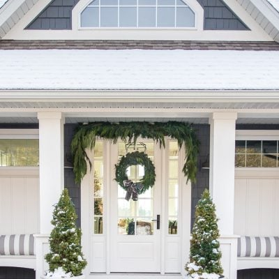 Gray and White Christmas Front Porch