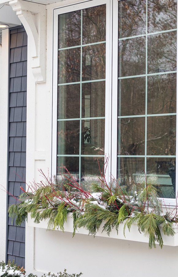winter window box ideas red branches and cedar boughs