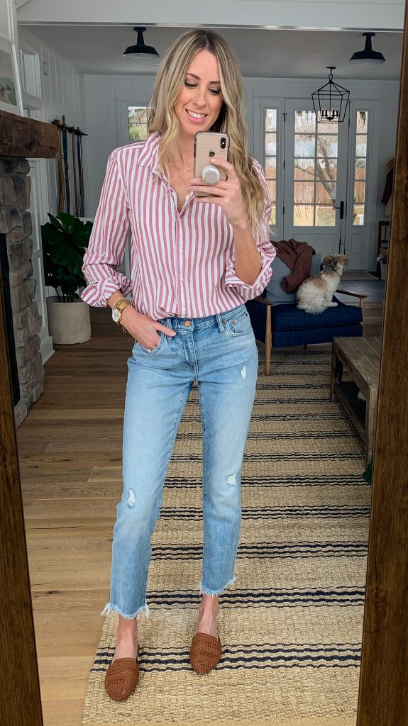 cropped boyfriend jeans spring outfit
