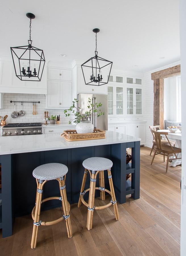White kitchen navy island