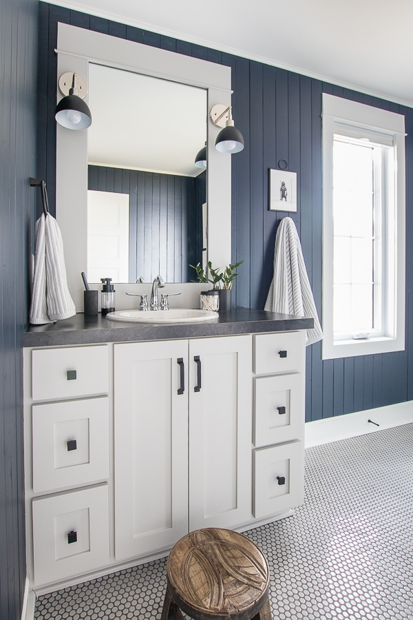 lake house bathroom navy and gray