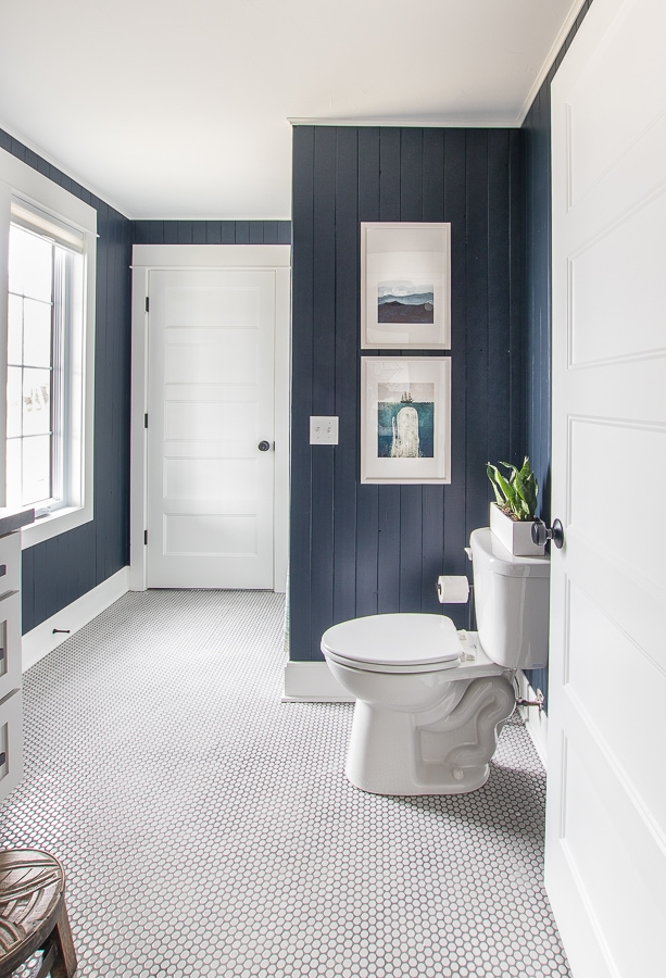 Navy vertical planked walls bathroom