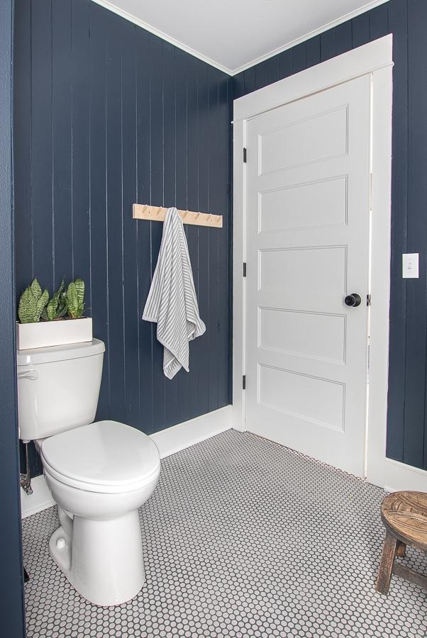 navy planked walls boys bathroom