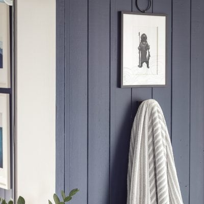 Navy and Gray Nautical Boy Bathroom