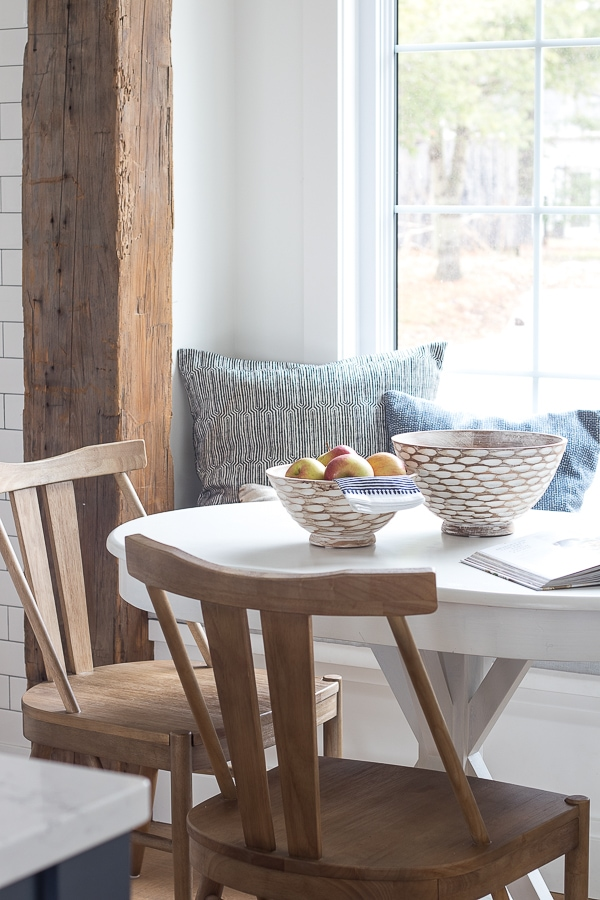 wood beam breakfast nook
