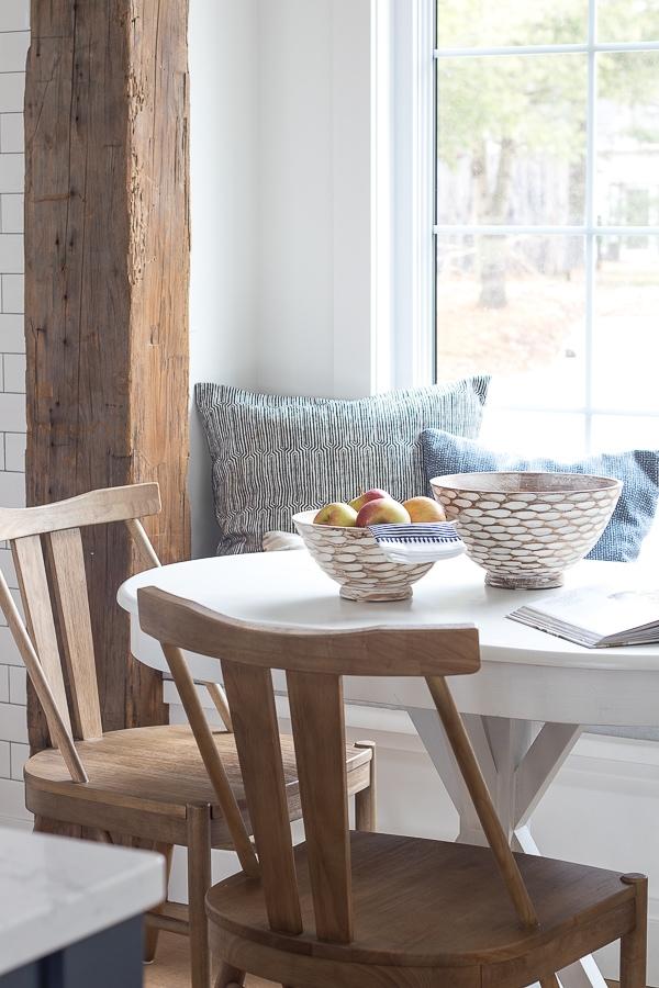 wood beam breakfast nook