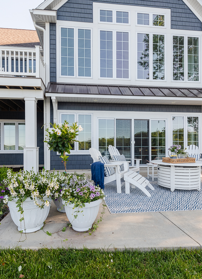 dark gray lake house patio