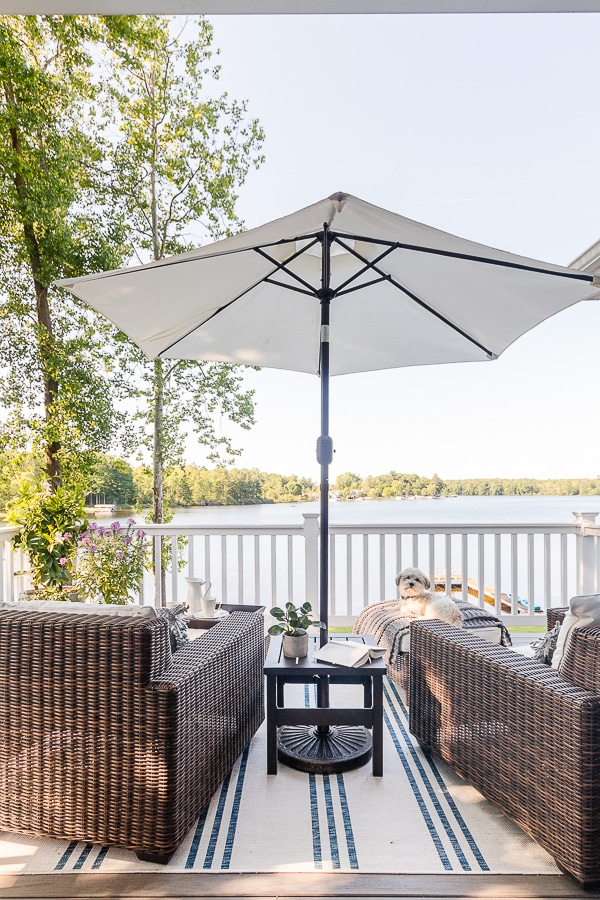 lake house deck with umbrella