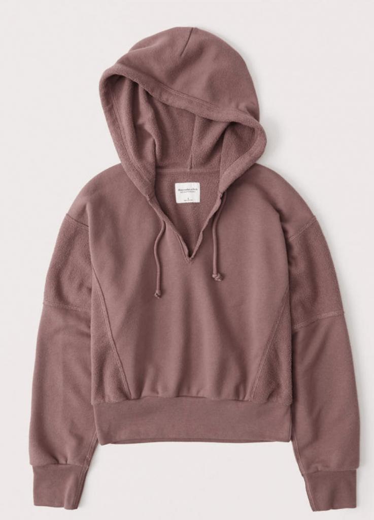 split neck hoodie