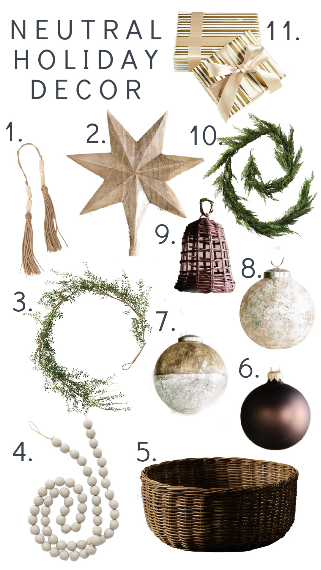 Neutral Christmas tree ornaments