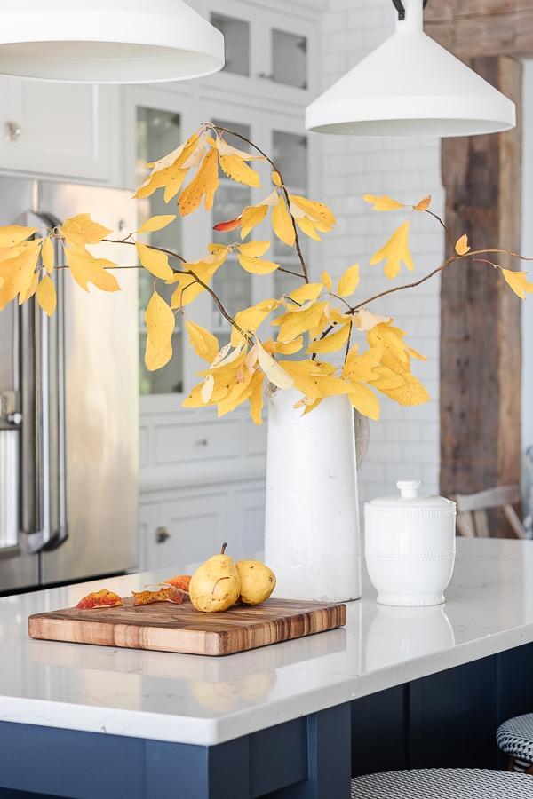fall branches, white stoneware pitcher