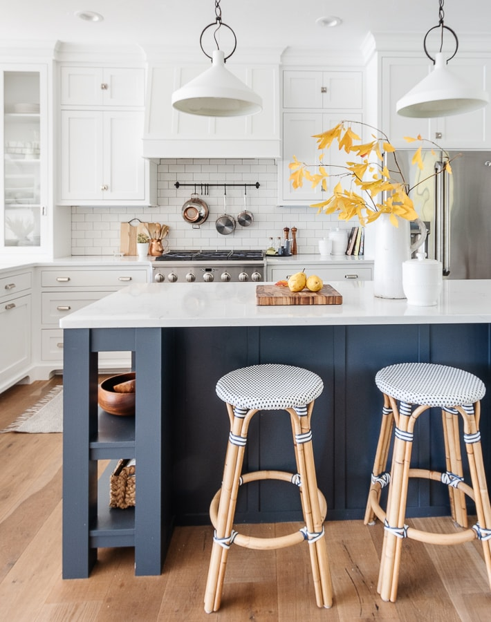 white and navy lake house kitchen