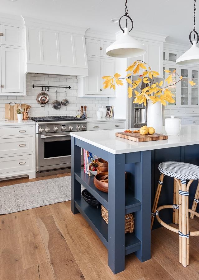 navy and white lake house kitchen