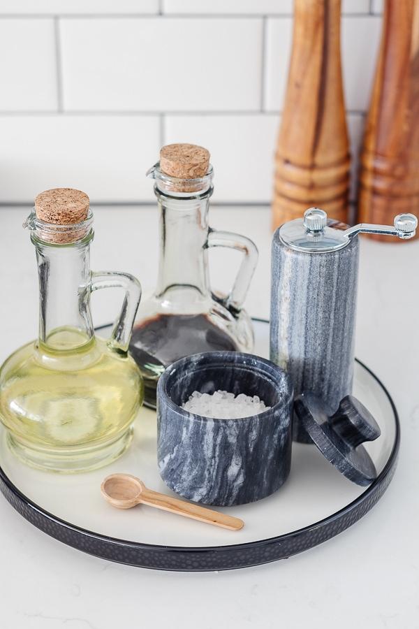 salt cellar and pepper grinders