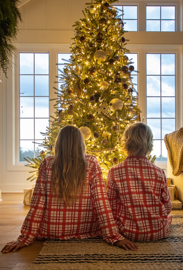red plaid christmas pajamas christmas tree