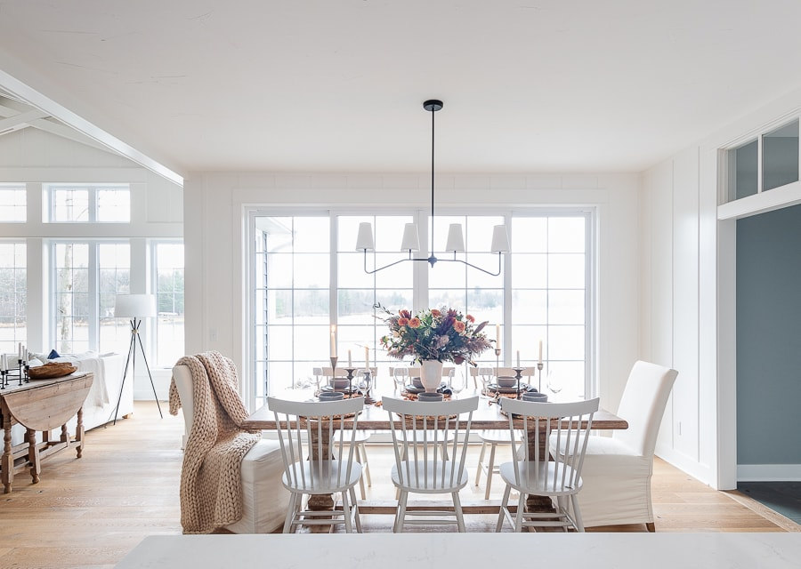 double sliding glass doors, dining room set for thanksgiving with neutral colors