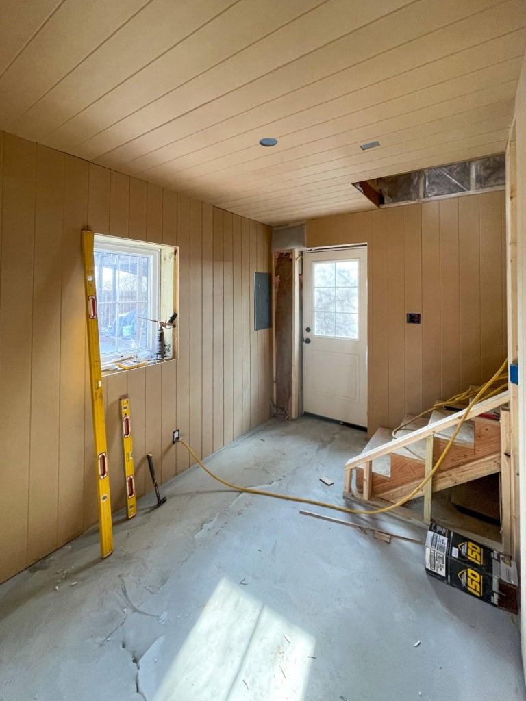 paneled walls pool house
