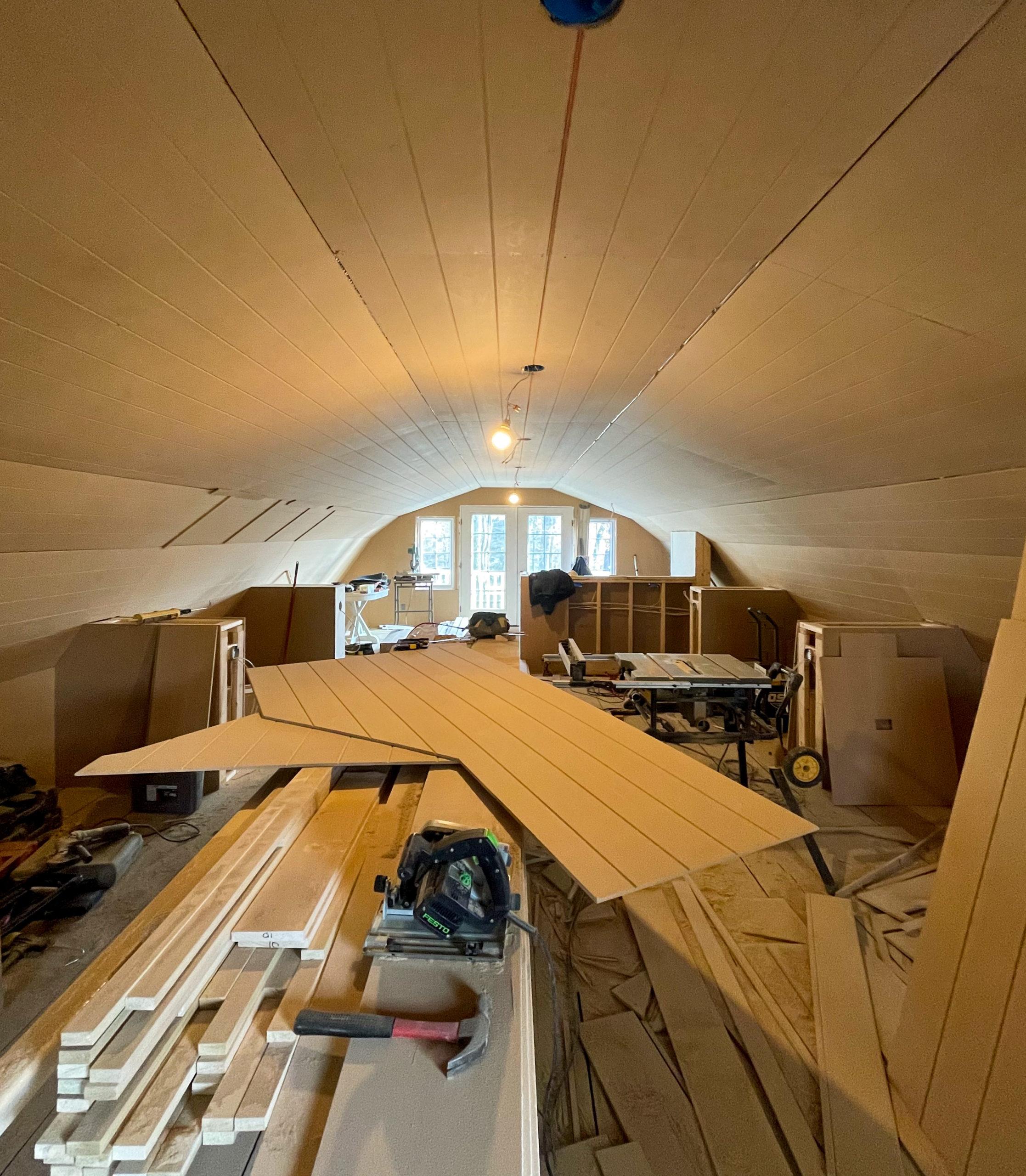 pool house progress paneled ceilings