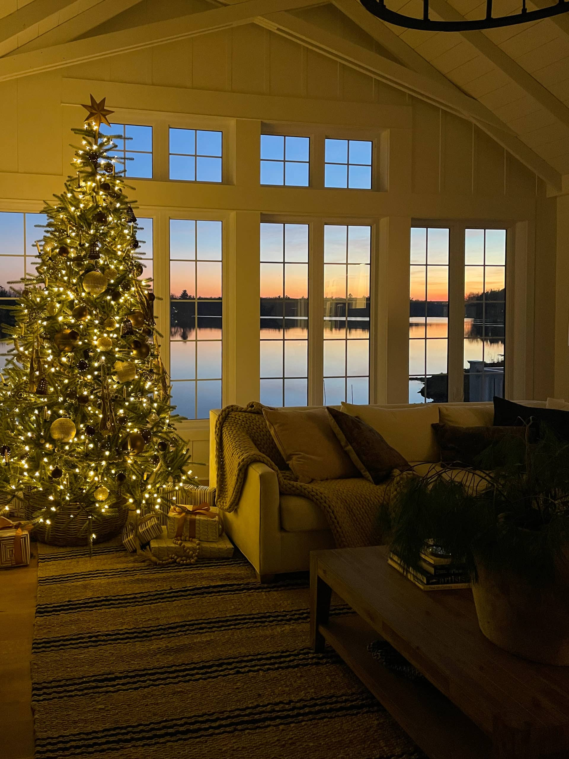 Lake House Sunset Christmas tree