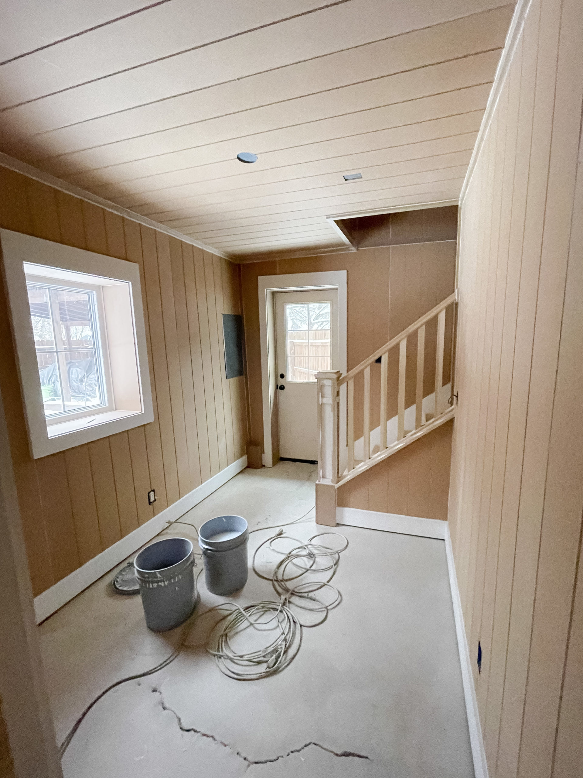 Pool house trim work paneled walls