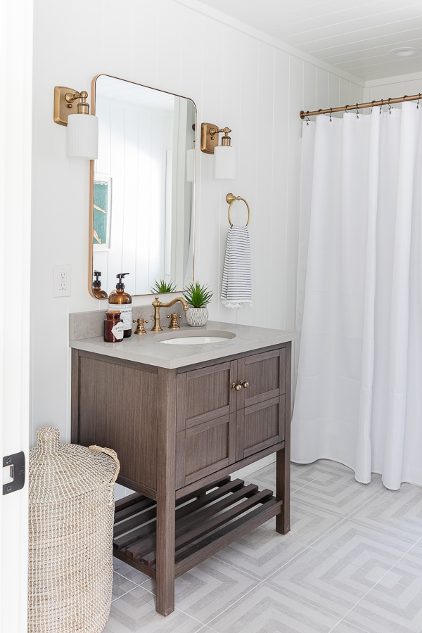 wood bathroom vanity gray patterned tile floors
