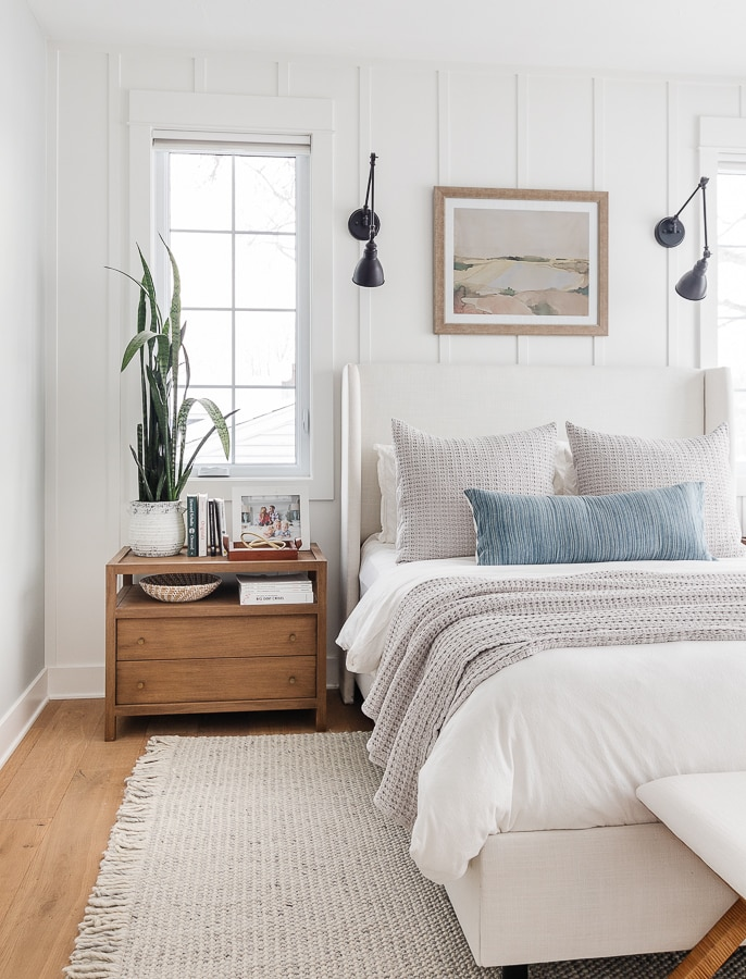 soft gray rug white walls blue and gray bedroom decor