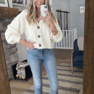 white cardigan straight leg jeans sandals