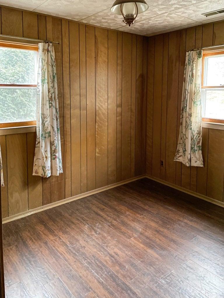 wood paneled cottage renovation