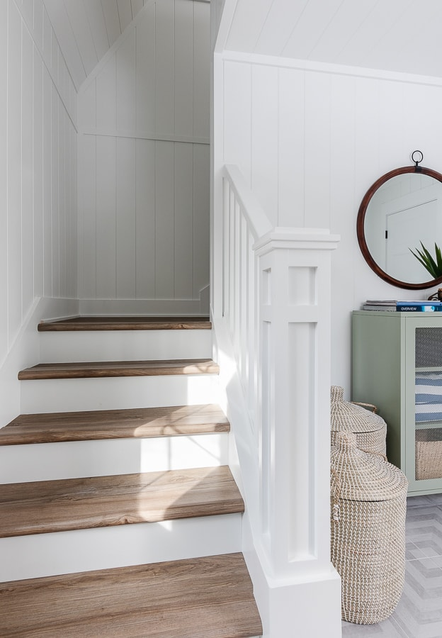 wood and white staircase
