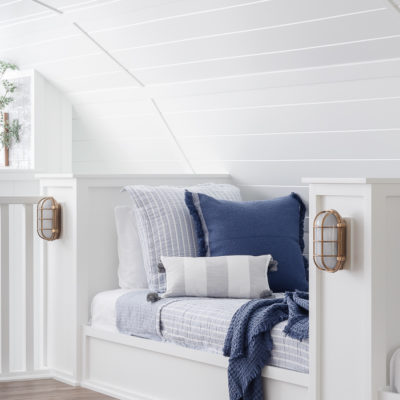 Blue and White Bunk Room Bedding