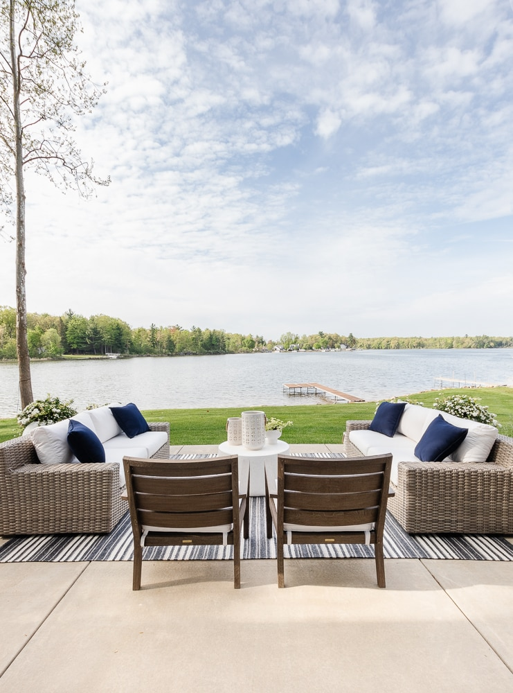 lake view gray washed patio furniture navy striped rug