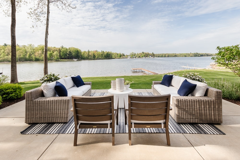 lake view with outdoor furniture