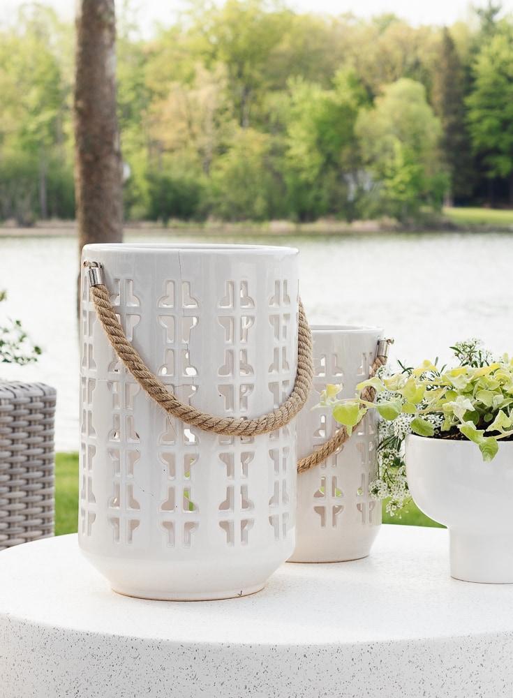 white outdoor lanterns