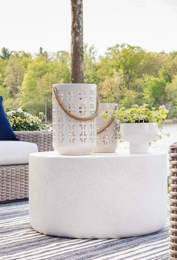 cement look outdoor coffee table