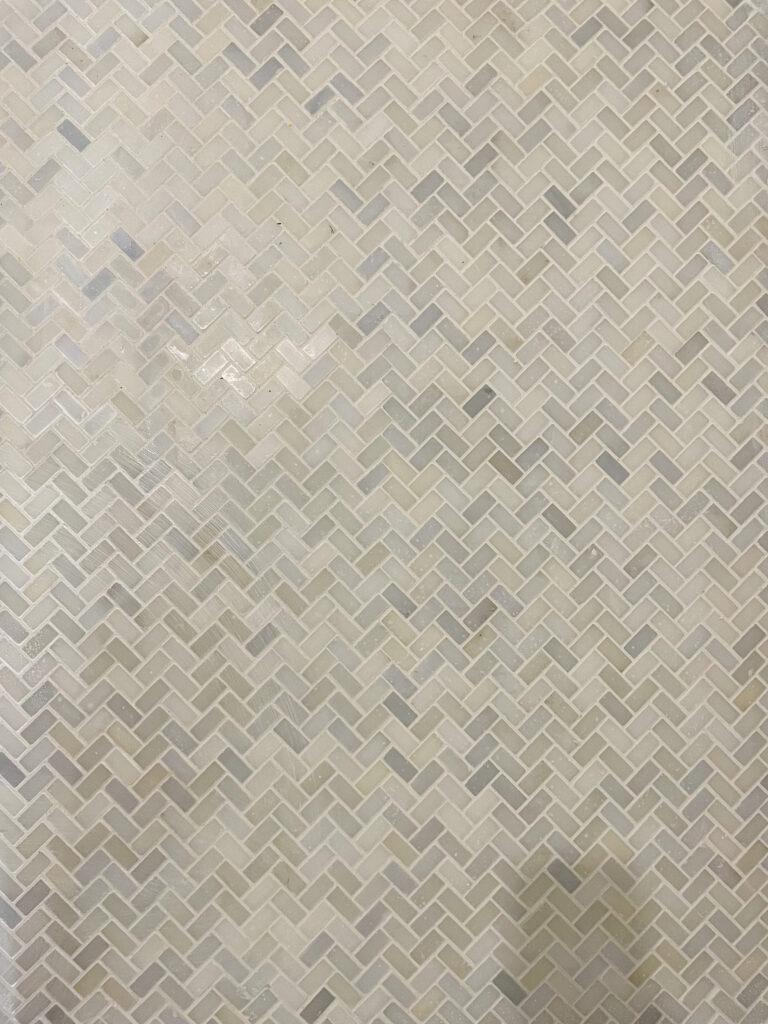 gray and white herringbone tile