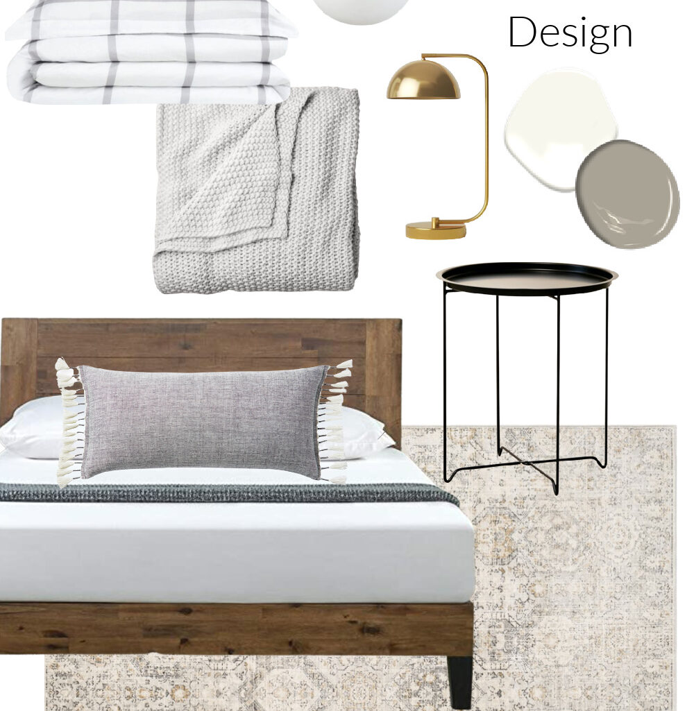 Lake house gray and white bedroom design