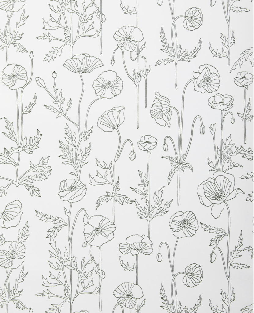 green and white floral wallpaper